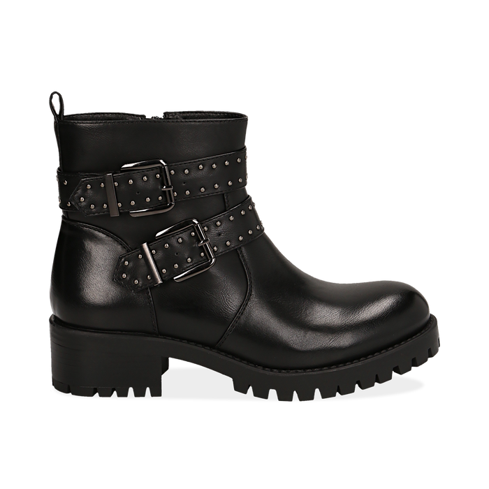 Biker boots con fibbie e borchie neri in eco-pelle, tacco 4,5 cm , Scarpe, 143069629EPNERO036
