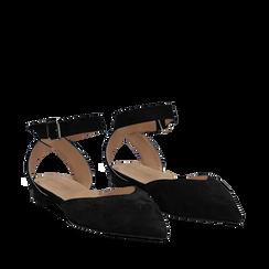 Ballerine nere in camoscio con cinturino alla caviglia, Scarpe, 13D602205CMNERO035, 002a