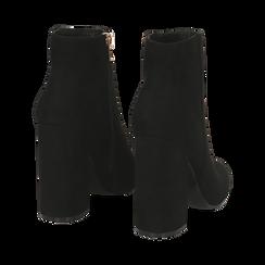 Ankle boots a punta neri in microfibra, tacco 11 cm , Stivaletti, 142186942MFNERO035, 004 preview