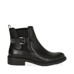 Chelsea boots neri in eco-pelle con cinturino, Stivaletti, 14A776160EPNERO035, 001a