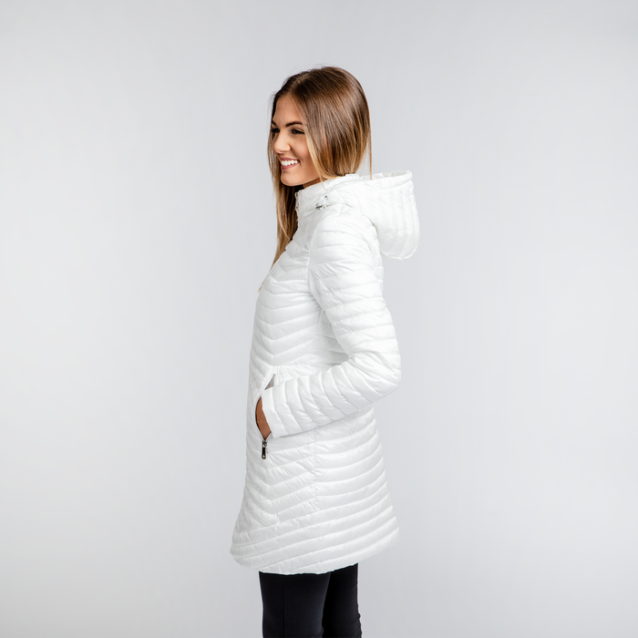 online store 9780d b2663 Piumino Bianco Donna Lungo con Cappuccio