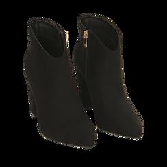 Ankle boots neri in microfibra, tacco 9 cm , 164916101MFNERO036, 002a