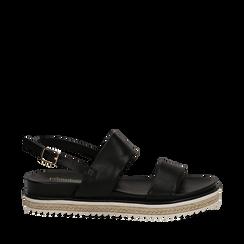 Sandali platform neri in eco-pelle, zeppa 4 cm, Primadonna, 132172081EPNERO036, 001a