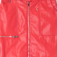 Minigonna rossa in eco-pelle con zip, effetto snake skin, Abbigliamento, 136501801EPROSSL, 002a