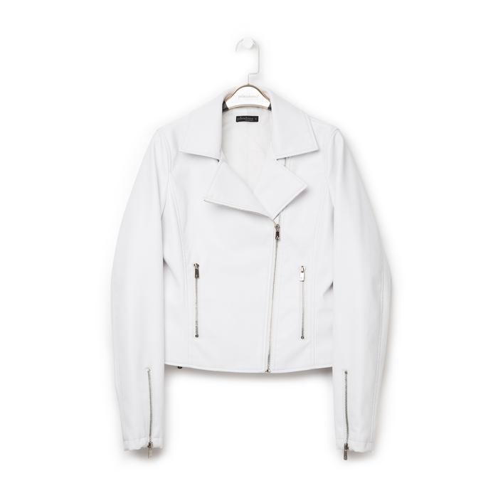 Biker jacket bianca in eco-pelle, Primadonna, 136501161EPBIAN