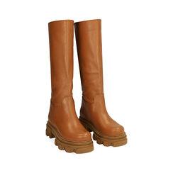 Botas de piel en cuero, tacón 4 cm, Primadonna, 17L666810VICOGN039, 002a