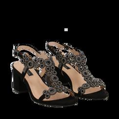 Sandali con strass neri in microfibra, tacchi 6,50 cm, Primadonna, 134956321MFNERO036, 002a