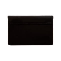 Pochette bustina nera in microfibra con oblò dorati, Borse, 123308604MFNEROUNI, 002 preview