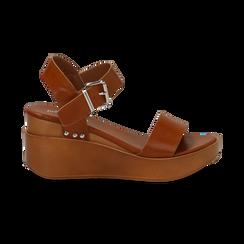 Sandali platform cuoio in eco-pelle, zeppa 7 cm, Primadonna, 132147321EPCUOI, 001 preview