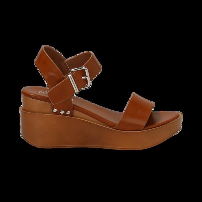 Sandali platform cuoio in eco-pelle, zeppa 7 cm, Primadonna, 132147321EPCUOI035