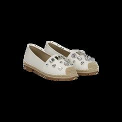 Espadrillas bianche in eco-pelle con gemme, Saldi Estivi, 134921159EPBIAN036, 002 preview