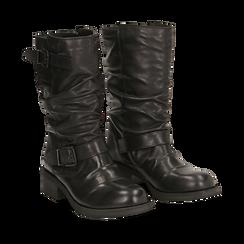 Biker boots neri con fibbia in pelle, tacco 4 cm , Primadonna, 147718218PENERO035, 002a