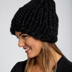 Berretto invernale nero in tessuto filato XL, Saldi Abbigliamento, 12B444008TSNEROUNI, 003