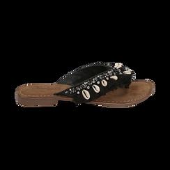 Ciabatte infradito nere in raso con conchiglie, Scarpe, 15K808336RSNERO, 001 preview