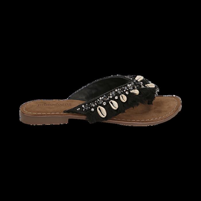 Ciabatte infradito nere in raso con conchiglie, Scarpe, 15K808336RSNERO