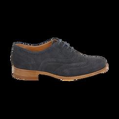 Derbies bleu en Nubuck, Chaussures, 159908418CMBLUE036, 001 preview