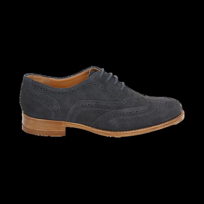 Derbies bleu en Nubuck, Chaussures, 159908418CMBLUE036