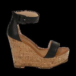 Sandali neri in eco-pelle, zeppa 12 cm , Scarpe, 154981001EPNERO035, 001a