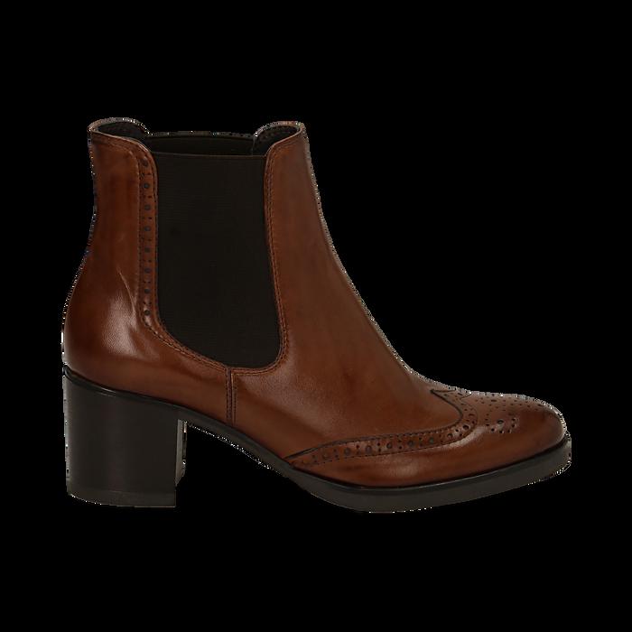 Ankle boots cuoio in pelle, tacco 6 cm , Stivaletti, 147711432PECUOI036