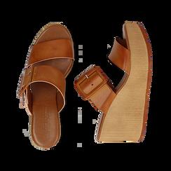 Mules platform cuoio in eco-pelle, zeppa 8 cm , Primadonna, 13C700252EPCUOI035, 003 preview