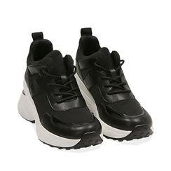 Sneakers nere in tessuto tecnico, zeppa 9 cm , Primadonna, 177590504TSNERO035, 002a
