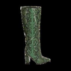 Stivali verdi in eco-pelle stampa pitone, tacco 9,5 cm , Stivali, 142166710PTVERD036, 001 preview