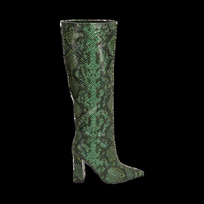 Stivali verdi in eco-pelle stampa pitone, tacco 9,5 cm , Stivali, 142166710PTVERD036