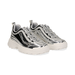 Dad shoes argento in vernice mirror con maxi-suola , Scarpe, 130101201SPARGE036, 002 preview