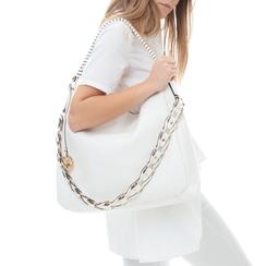 Maxi bag bianca in eco-pelle con tracolla decor, Borse, 133881161EPBIANUNI, 002a