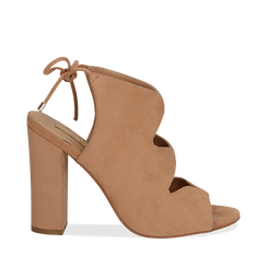 Sandali nude in microfibra con allacciatura alla caviglia, tacco 10,5 cm, Scarpe, 132760824MFNUDE035, 001a