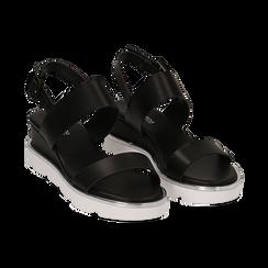 Sandali flat neri in eco-pelle , Scarpe, 132182545EPNERO, 002 preview