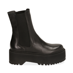 Chelsea boots neri in pelle di vitello, suola 6 cm , Primadonna, 168900202VINERO036, 001a