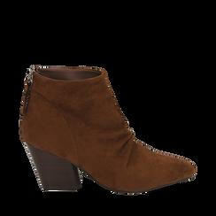 Ankle boots marroni in microfibra, tacco 7,50 cm , Primadonna, 160598311MFMARR035, 001a