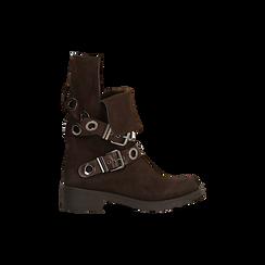 Stivaletti con Fibbie e Borchie - Biker Boots, Scarpe, 12A700272MNMARR, 005 preview