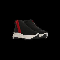 Sneakers  slip-on nere in lycra con zip, Scarpe, 12A783210LYNERO036, 002