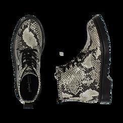Anfibi in eco-pelle bianco/neri effetto snake skin, Primadonna, 148901810PTBENE036, 003 preview