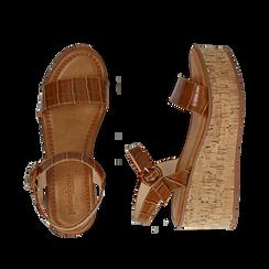 Sandali cuoio stampa cocco, zeppa 7,50 cm, Scarpe, 154967318CCCUOI, 003 preview