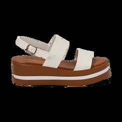 Sandali platform bianchi in eco-pelle, zeppa 5 cm , Primadonna, 132147512EPBIAN, 001 preview