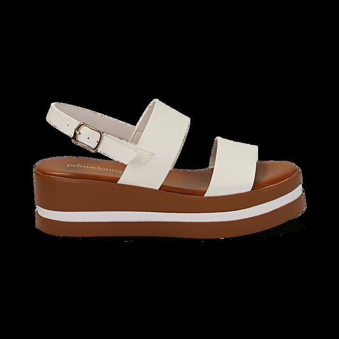Sandali platform bianchi in eco-pelle, zeppa 5 cm , Primadonna, 132147512EPBIAN
