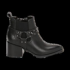 Camperos neri in eco-pelle con borchie, tacco 6,5 cm , Stivaletti, 143020502EPNERO036, 001 preview