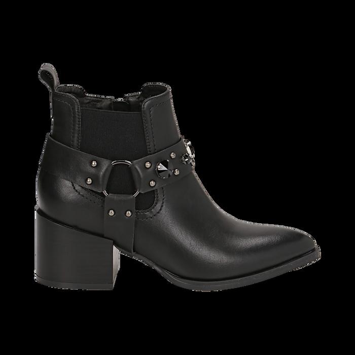 Camperos neri in eco-pelle con borchie, tacco 6,5 cm , Stivaletti, 143020502EPNERO036