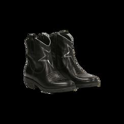 Stivaletti Texani in vera pelle con ricamo stella nera, tacco 5 cm, Primadonna, 128900200VINERO036, 002 preview