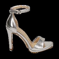 Sandali argento in eco-pelle laminata, tacco 11,50 cm, Scarpe, 152133410LMARGE035, 001a