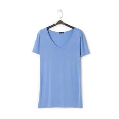 T-shirt con scollo a V blu in tessuto, Primadonna, 13F750713TSBLUEL, 001 preview