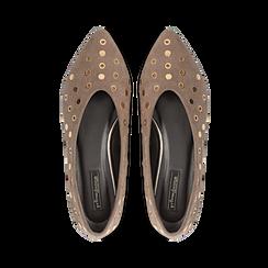 Ballerine taupe in microfibra scamosciata e mini-borchie, tacco basso, Primadonna, 124991821MFTAUP, 004 preview