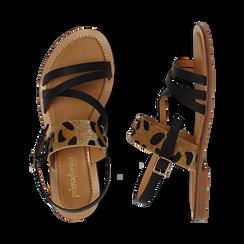 Sandali neri in eco-pelle con dettaglio leopard, Saldi Estivi, 135201203EPNERO036, 003 preview