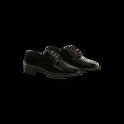 Stringate derby vernice nera tacco basso, Scarpe, 120618121VENERO036, 002