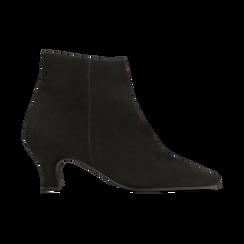 Tronchetti neri in vero camoscio, tacco a rocchetto basso 6 cm+, Primadonna, 127200154CMNERO, 001 preview
