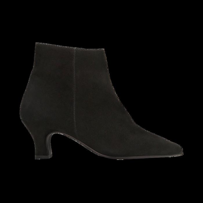Tronchetti neri in vero camoscio, tacco a rocchetto basso 6 cm+, Primadonna, 127200154CMNERO