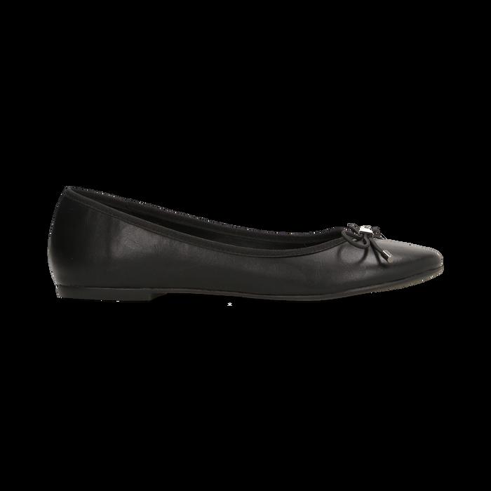 Ballerine nere punta tonda, con tacco basso, Primadonna, 124892351EPNERO